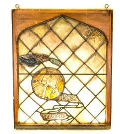 Antique 19th C Stained Glass Gothic Church Window