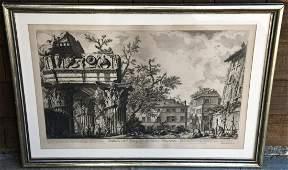 Antique Piranesi Engraving Tempio di Giove Tonante