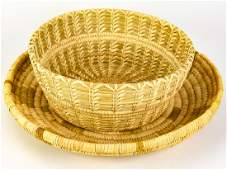 Pair Native American Papago Indian Yucca Baskets