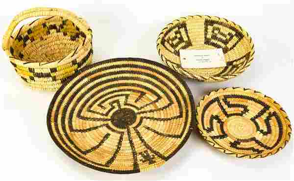 Group of 4 Native American Papago Indian Baskets