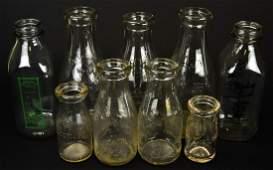 Collection 9 Vintage Embossed Milk Bottles