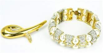 Vintage Costume Jewelry Bracelet & Brooch