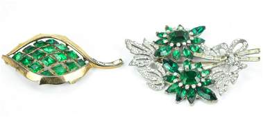 2 Vintage Emerald Paste Brooches