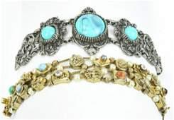 2 Vintage Costume Jewelry Bracelets