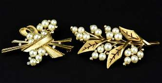 2 Vintage Crown Trifari Faux Pearl Brooches