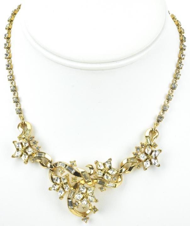 Crown Trifari Gilt Metal & Rhinestone Necklace