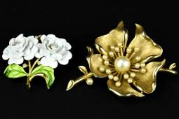 2 Vintage Floral Motif Trifari Brooches