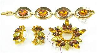 Costume Jewelry w Rhinestone Citrine Crystals
