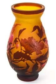 Signed Gallé w Cameo Cut Blossoms Glass Vase