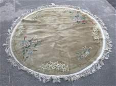Oriental Silk Beige Round Area Rug w Floral Motif