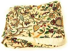 Floral Crewel Embroidered Quilt
