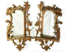 Pair Antique Florentine Carved Mirror Wall Shelves