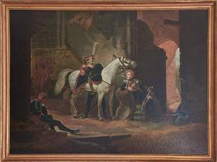 Antique 19th C French Oil Painting of Soldiers