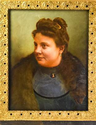 Antique 19th C American School Oil Painting a Lady