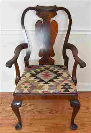 Antique Queen Ann Shield Back Carved Arm Chair