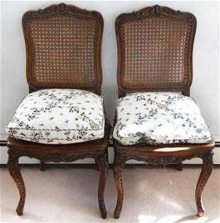 Pair Antique French Provincal Caned Side Chairs