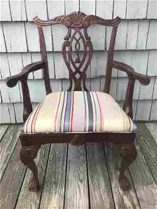 Antique Chippendale Shield Back Dining Arm Chair