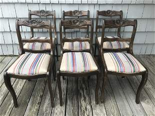 6 Provencal Carved Upholstered Dining Side Chairs