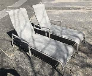 Pair Agio Outdoor Aluminum Chaise Lounge Chairs