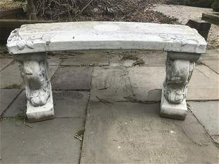 Italian Cast Cement Garden Bench w Ivy Motif