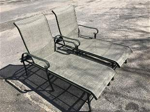 Pair Outdoor Aluminum Chaise Lounge Chairs
