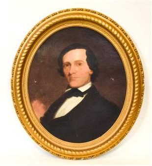 Antique 19th C New England Oil Painting Portrait