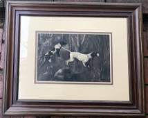 A Bracey - Pencil Signed Charcoal Drawing of Dogs