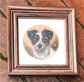 Antique Hand Painted Dog Portrait on Pottery Tile