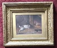 Antique C 1884 Gilt Framed Oil Painting of Dogs