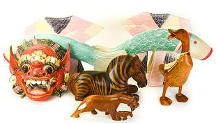 Collection of Hand Carved Painted Animals & Masks
