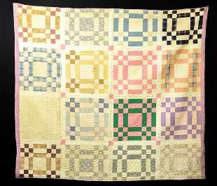 Antique American Hand Sewn Folk Art Quilt