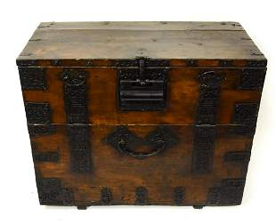 Antique Chinese Iron Mounted Chest Cabinet
