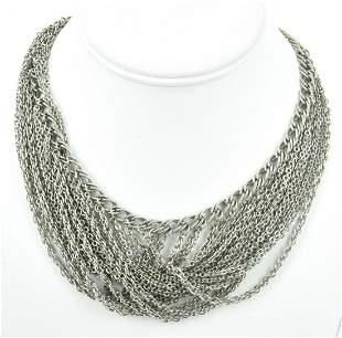 Vintage Silver Tone Mesh Festoon Necklace