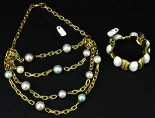 Vintage Gilt Metal & Faux Pearl Costume Jewelry