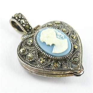 Sterling Silver Marcasite & Cameo Locket Pendant