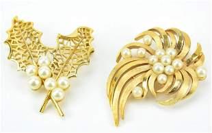 2 Vintage Trifari Gilt Metal & Faux Pearl Brooches