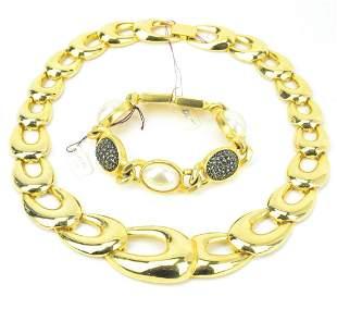 Vintage Gilt Metal Necklace & Bracelet