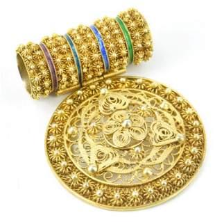 Estate Etruscan Revival Gold Over Silver Pendant