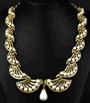 Vintage Trifari Articulated Gilt Metal Necklace