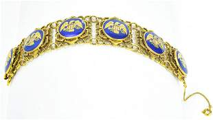 Vintage Gilt Metal American Eagle Panel Bracelet