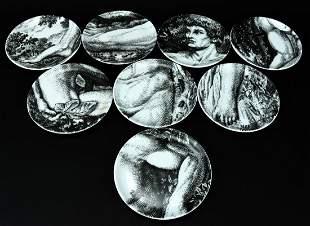 Piero Fornasetti Eight 'Adam' Porcelain Coasters