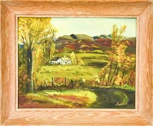 David Burliuk Oil Canvas Panel Landscape Painting