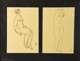 Sanyu Signed Modernist Pencil Charcoal Nude Study