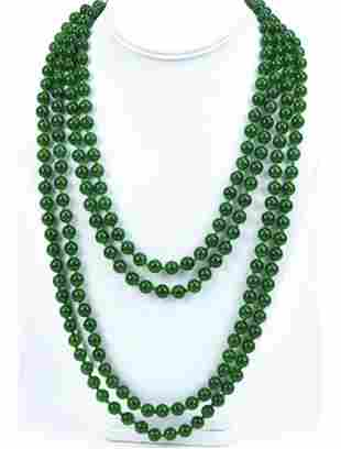 100 Inch Hand Knotted Green Nephrite Jade Necklace