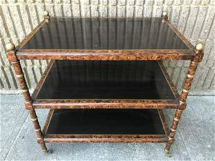 Regency Style 3 Tier Burled Wood Table on Casters