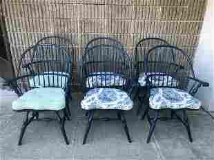 Set 6 Ashlen Blue Windsor Chairs