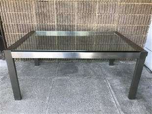 Contemporary Aluminum & Glass Top Dining Table