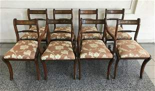 Set 8 French Empire Dining Chairs w Brass Inlay