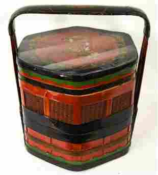 Antique Chinese Red Lacquer 3 Tier Wedding Box