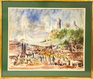 P. Ortiz South American Festival Scene Watercolor